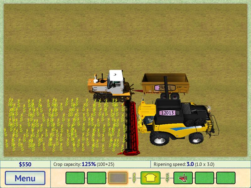 The game gives a great choice of tractors, combines, and other equipment.